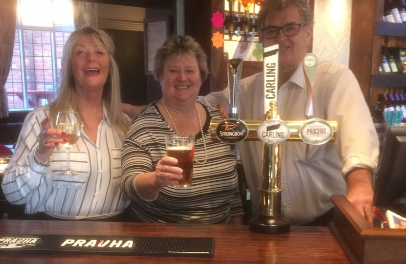 Andrea Milner, Heather Wheeler and Ian Broomhead at the bar