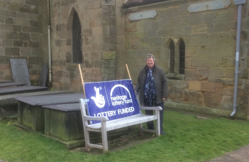 Heather Wheeler MP outside St Wilfrid's Church in Barrow-on-Trent