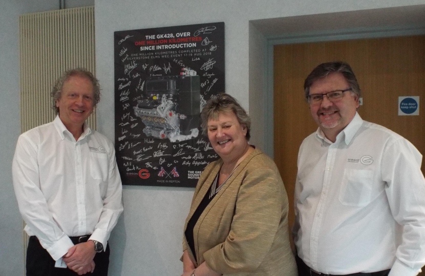 Heather Wheeler MP with John Manchester (L) and Jim Hibbert (R)